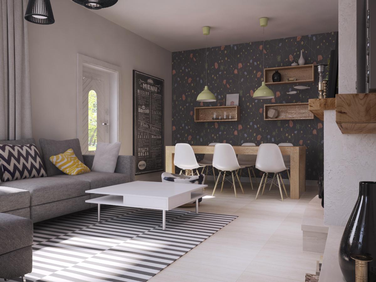 Журнальный столик - IKEA «ТОФТЕРИД»;  Ковёр - IKEA «СТОКГОЛЬМ»; Обои - BORASTAPETER «FALSTERBO II (арт. 4040)»