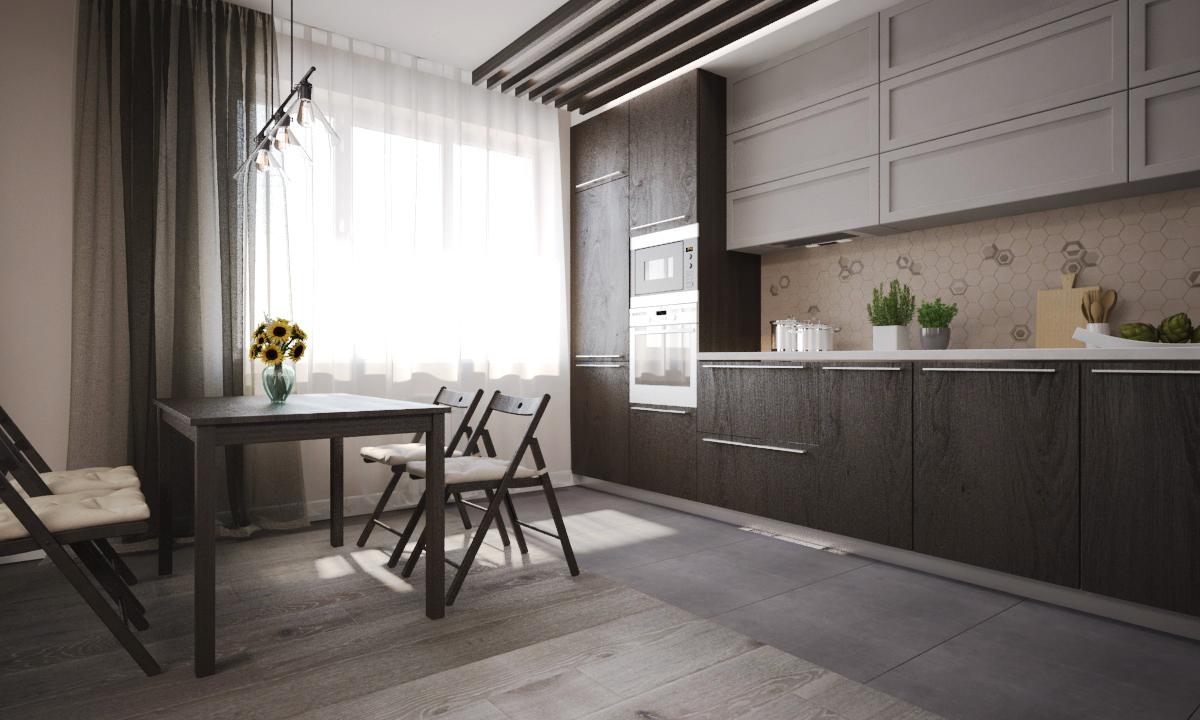 Стул складной, черный - IKEA «ТЕРЬЕ» Арт. 002.224.40; Подвесной светильник над кухонным столом - «PL296»