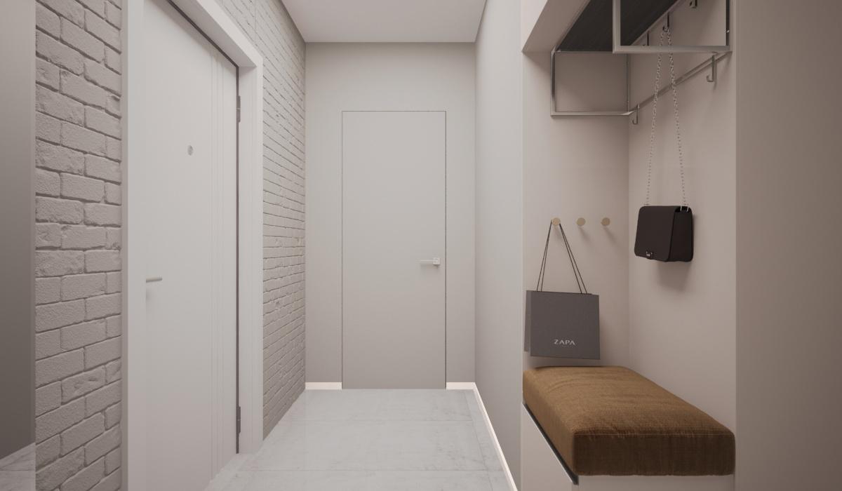 Декоративный кирпич для внутренней отделки - кирпич средневековый, белый :05.00; Дверь невидимка Profil Doors 0Z INVISIBLE (под отделку); Плитка напольная(керамогранит) - производитель: Italon Коллекция: 'Миллениум' Сильвер Размер: 600*600 Тип поверхности: матовая